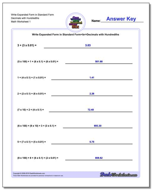 Standard, Expanded and Word Form Worksheets Write in Decimals with Hundredths