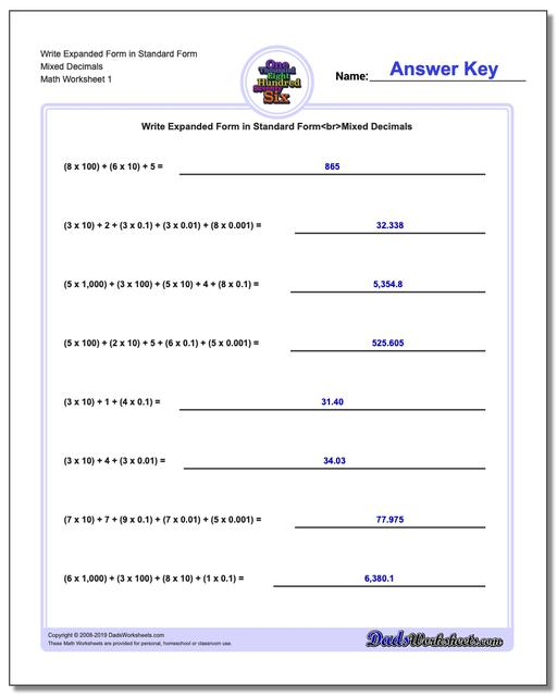 Standard, Expanded and Word Form Worksheets Write in Mixed Decimals