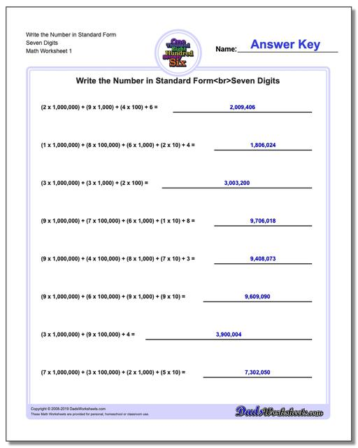 Standard, Expanded and Word Form Worksheets Write the Number in Seven Digits