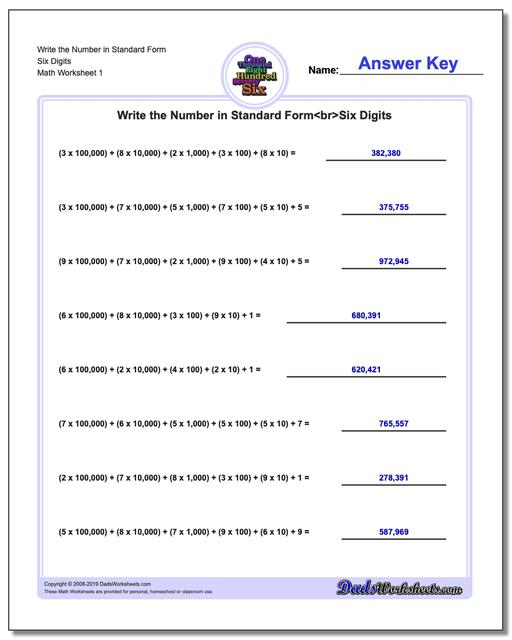 Standard, Expanded and Word Form Worksheets Write the Number in Six Digits