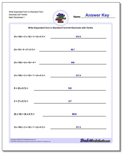 Standard, Expanded and Word Form Worksheets Write in Decimals with Tenths