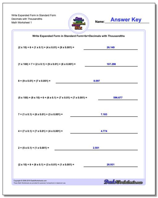 Standard, Expanded and Word Form Worksheets Write in Decimals with Thousandths