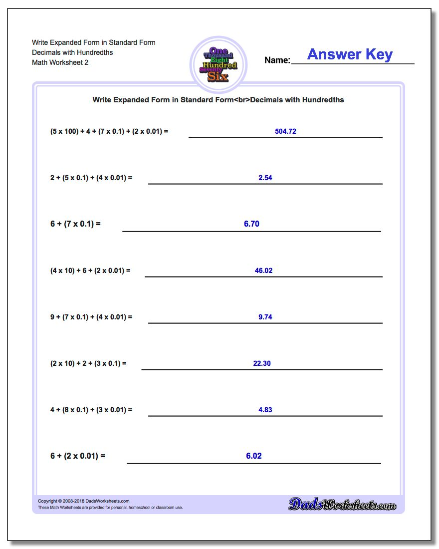 Write Expanded Form Worksheet in Standard Form Decimals with Hundredths www.dadsworksheets.com/worksheets/standard-expanded-and-word-form.html