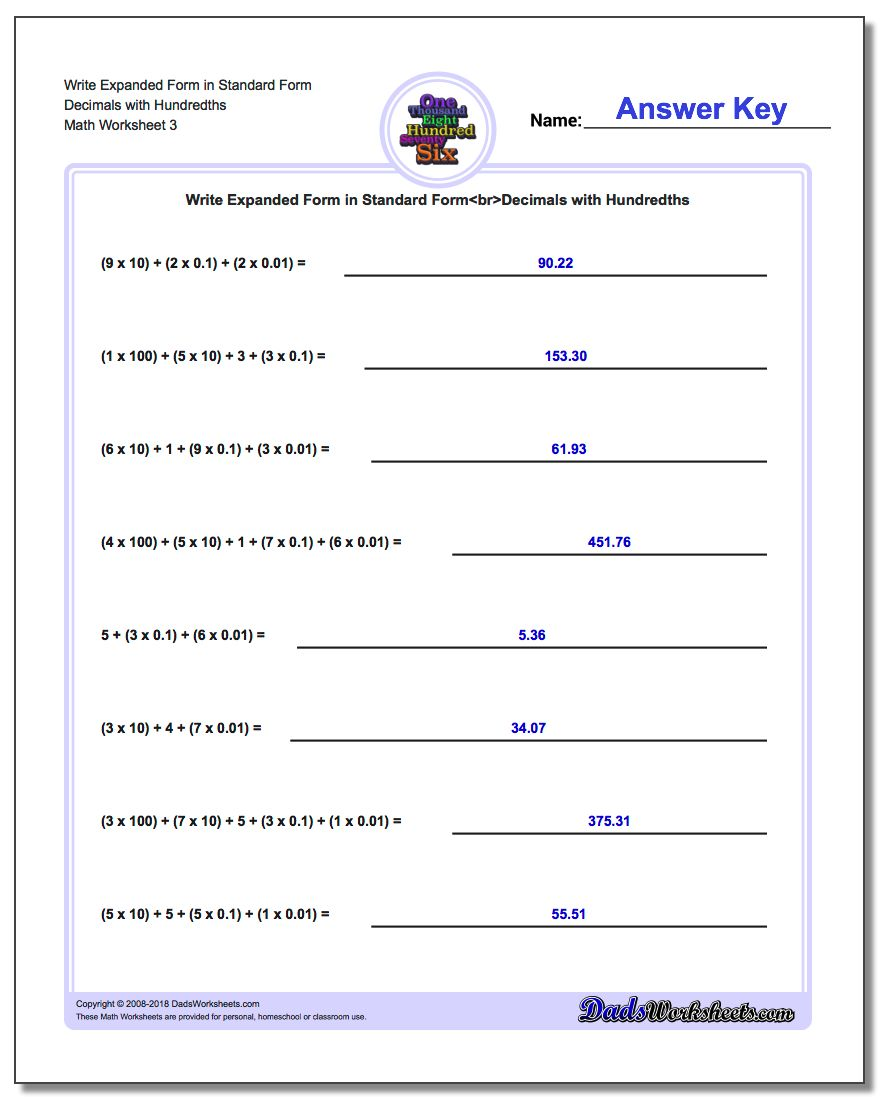 Write Expanded Form Worksheet in Standard Form Decimals with Hundredths