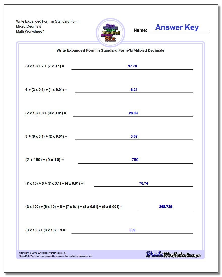 Standard, Expanded and Word Form Worksheet Write in Mixed Decimals