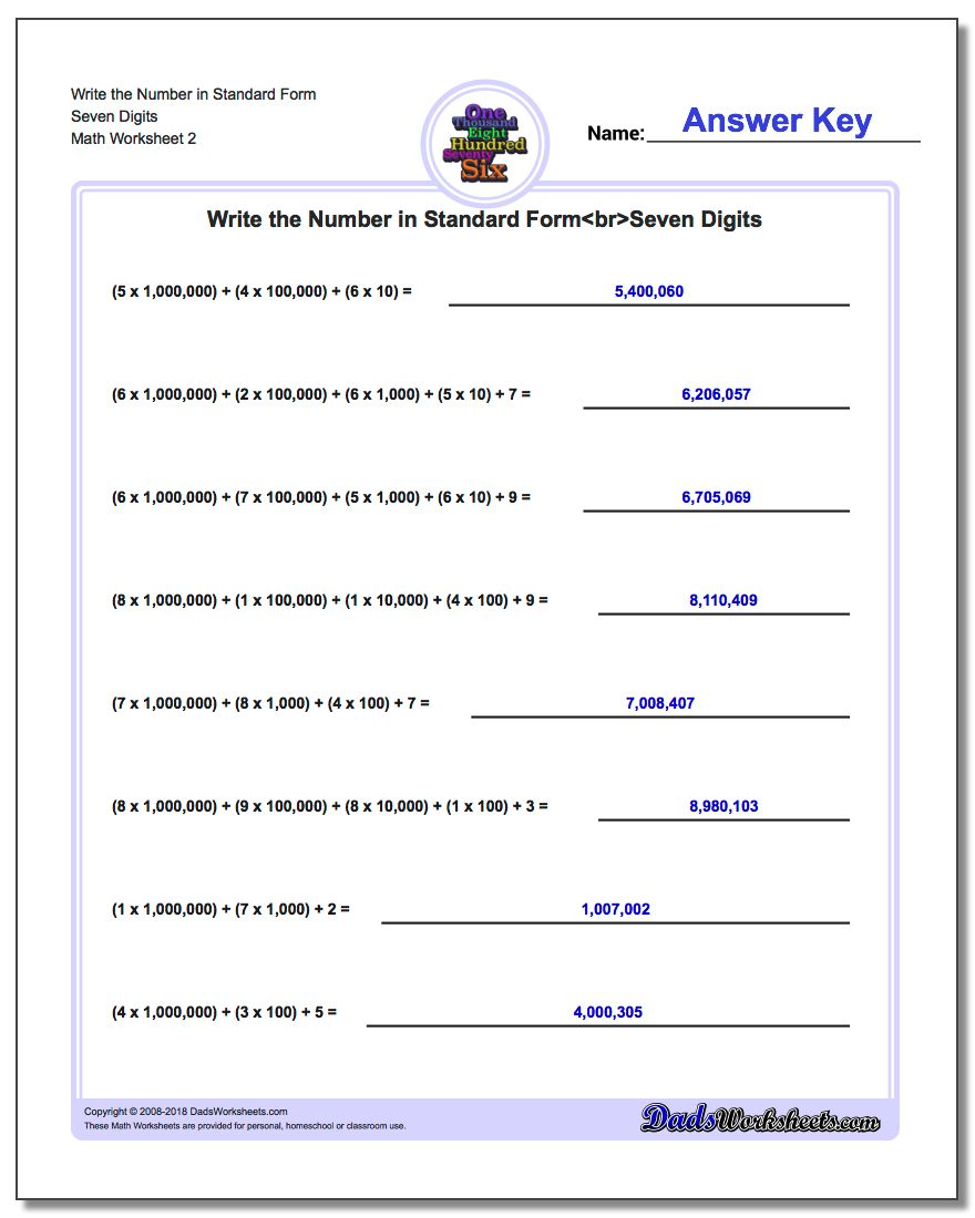 Write the Number in Standard Form Worksheet Seven Digits www.dadsworksheets.com/worksheets/standard-expanded-and-word-form.html