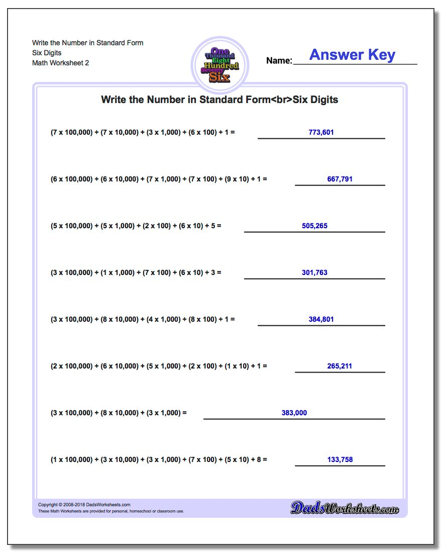 Write the Number in Standard Form Worksheet Six Digits www.dadsworksheets.com/worksheets/standard-expanded-and-word-form.html