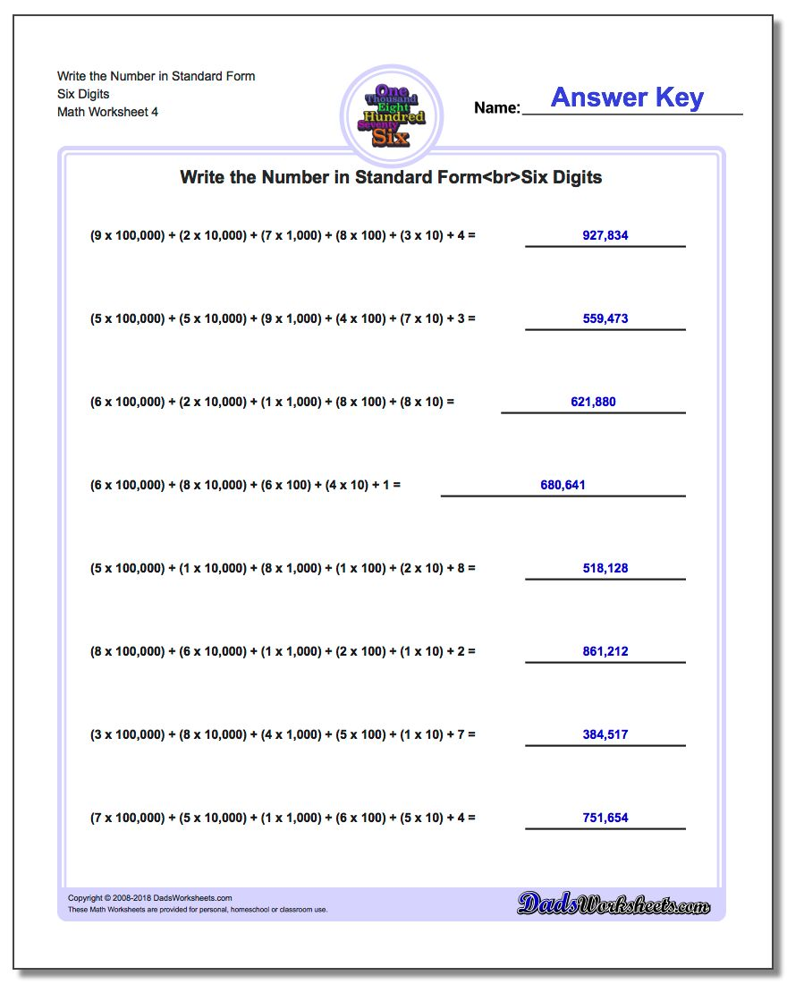 Write the Number in Standard Form Worksheet Six Digits