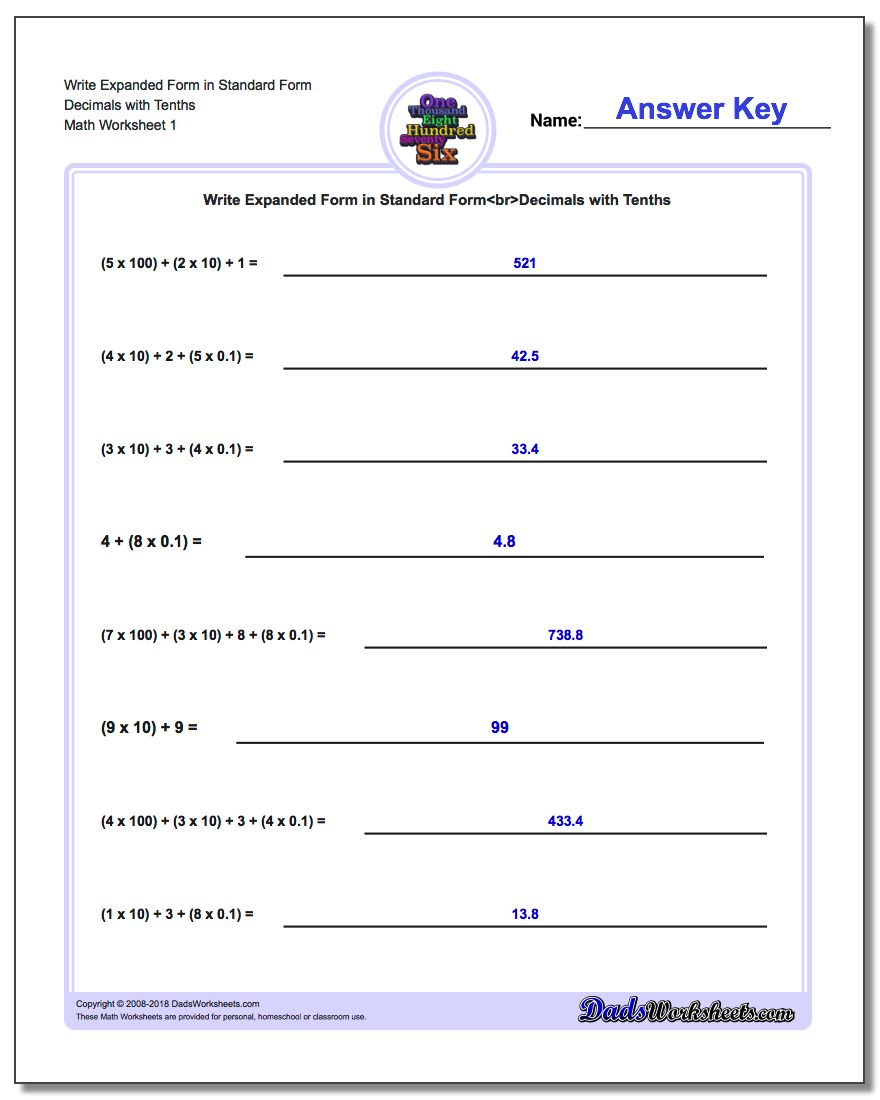 Standard, Expanded and Word Form Worksheet Write in Decimals with Tenths
