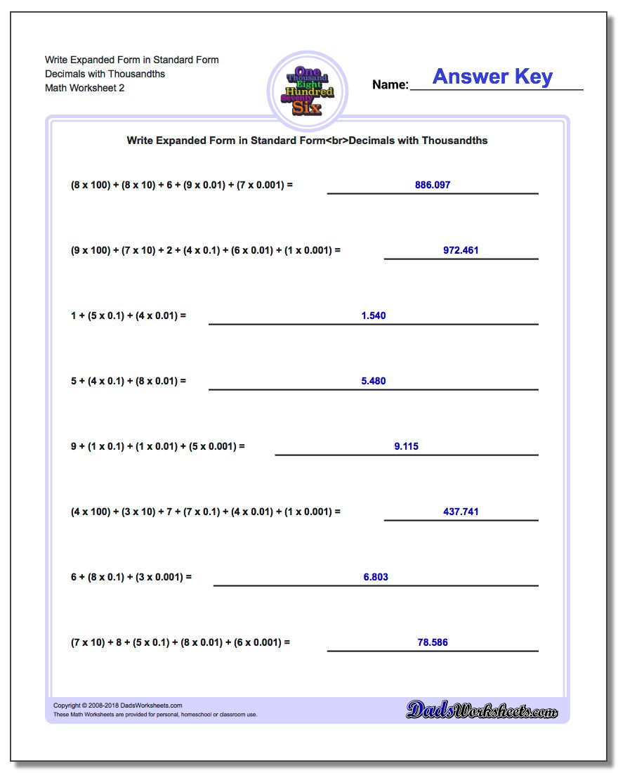 Write Expanded Form Worksheet in Standard Form Decimals with Thousandths www.dadsworksheets.com/worksheets/standard-expanded-and-word-form.html