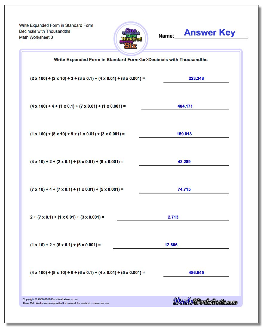 Write Expanded Form Worksheet in Standard Form Decimals with Thousandths