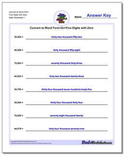Standard, Expanded and Word Form Worksheet Convert to Five Digits with Zero