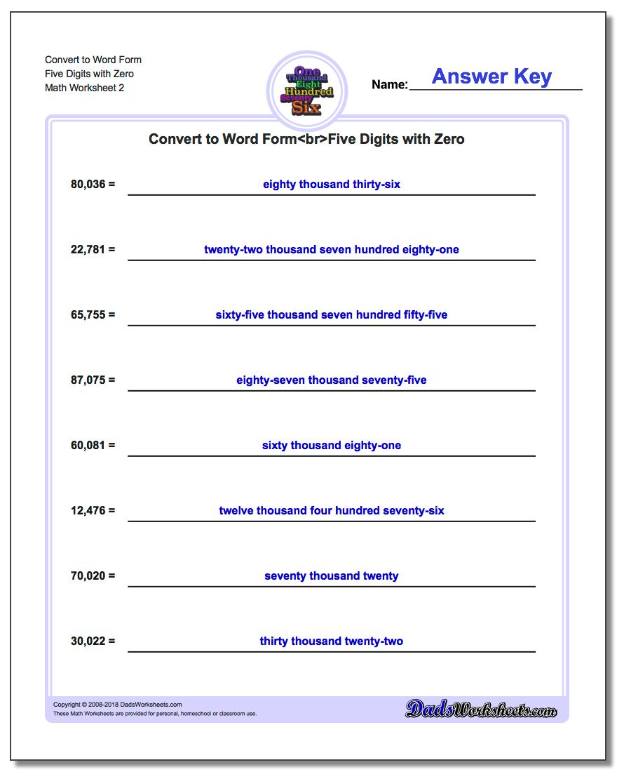 Convert to Word Form Worksheet Five Digits with Zero www.dadsworksheets.com/worksheets/standard-expanded-and-word-form.html