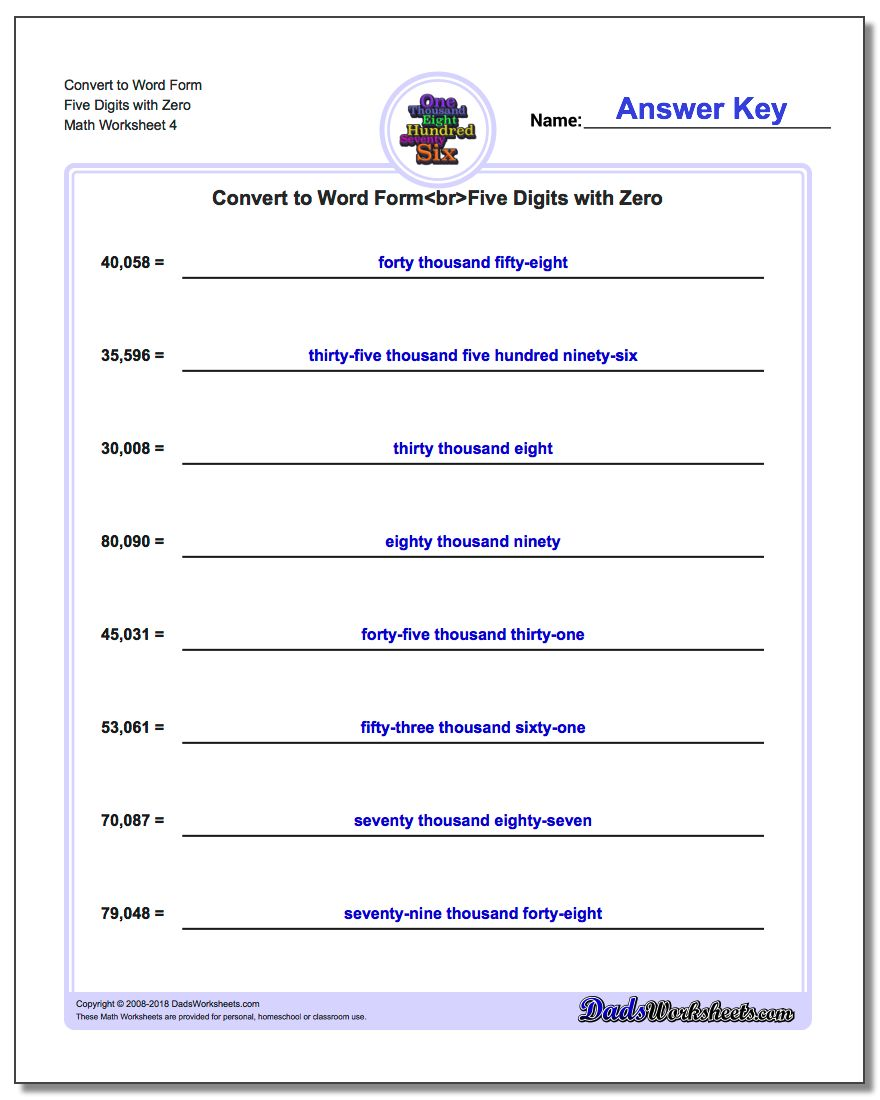 Convert to Word Form Worksheet Five Digits with Zero