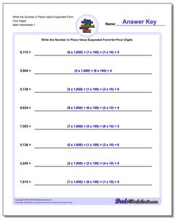 Standard, Expanded and Word Form Worksheet Write the Number in Place Value Four Digits