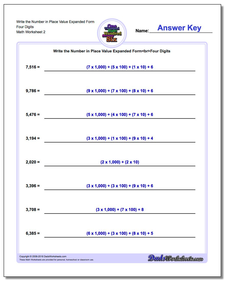 Write the Number in Place Value Expanded Form Worksheet Four Digits www.dadsworksheets.com/worksheets/standard-expanded-and-word-form.html