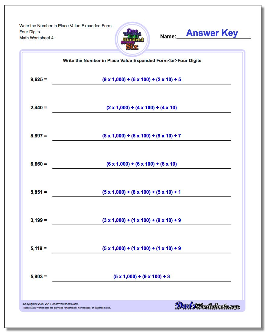 Write the Number in Place Value Expanded Form Worksheet Four Digits