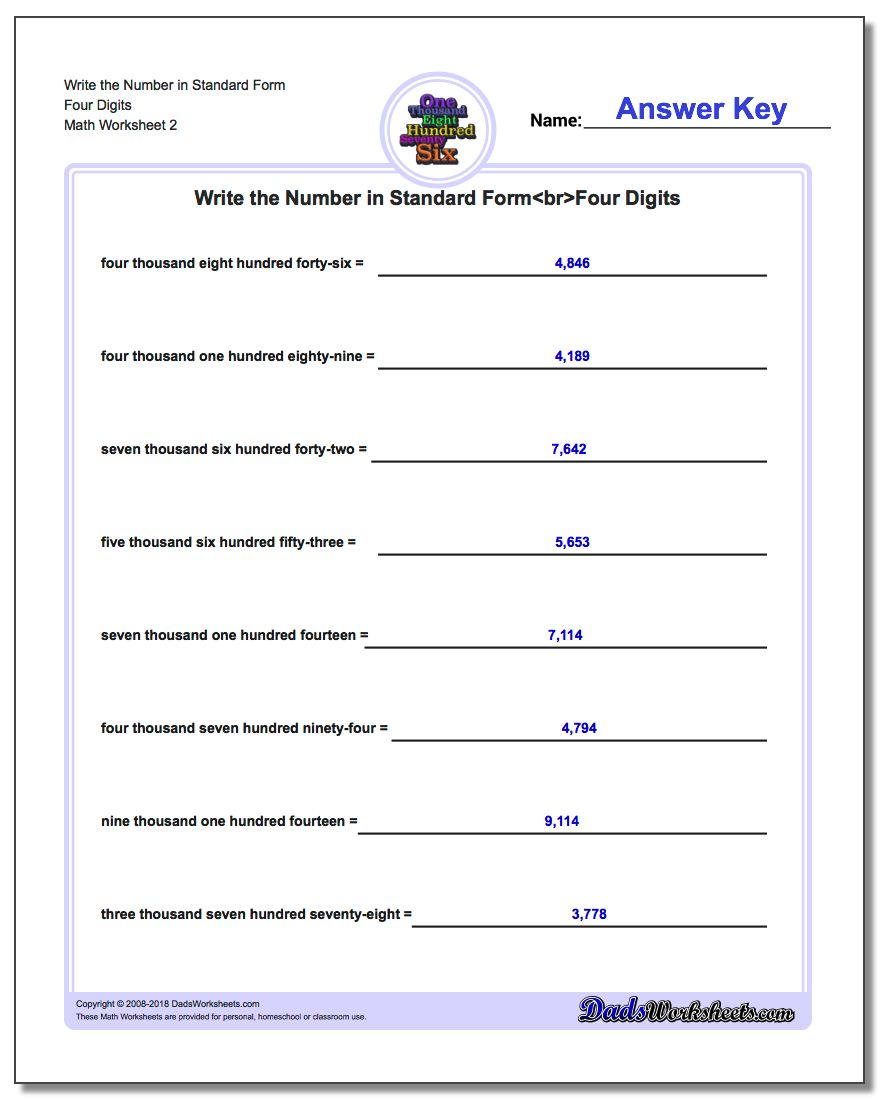 Write the Number in Standard Form Worksheet Four Digits www.dadsworksheets.com/worksheets/standard-expanded-and-word-form.html