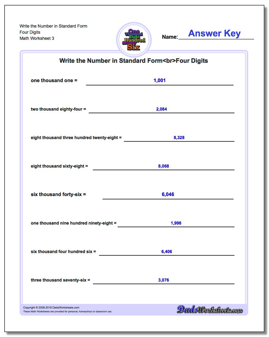 Write the Number in Standard Form Worksheet Four Digits