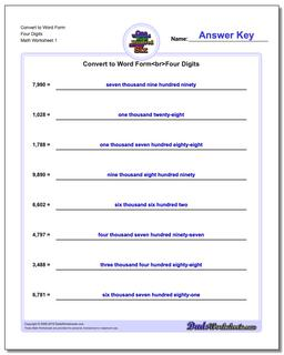 Standard, Expanded and Word Form Worksheet Convert to Four Digits