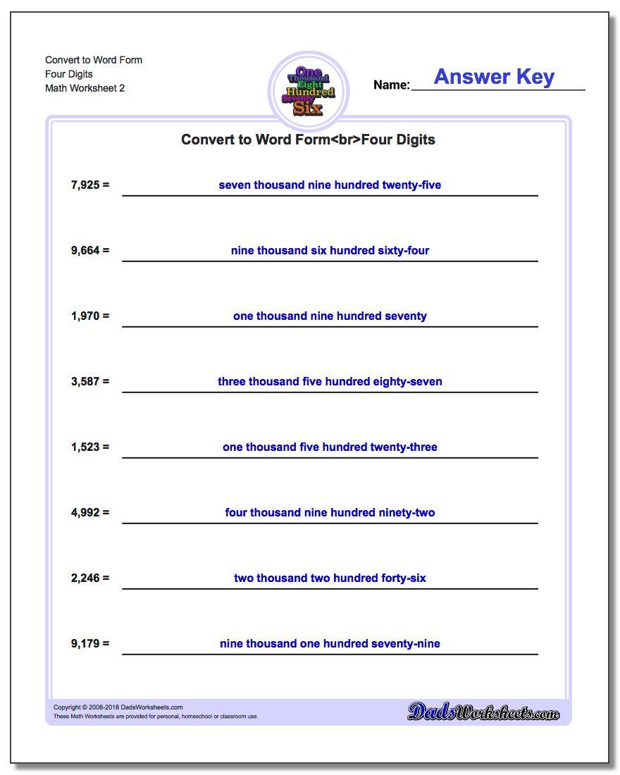 Convert to Word Form Worksheet Four Digits www.dadsworksheets.com/worksheets/standard-expanded-and-word-form.html