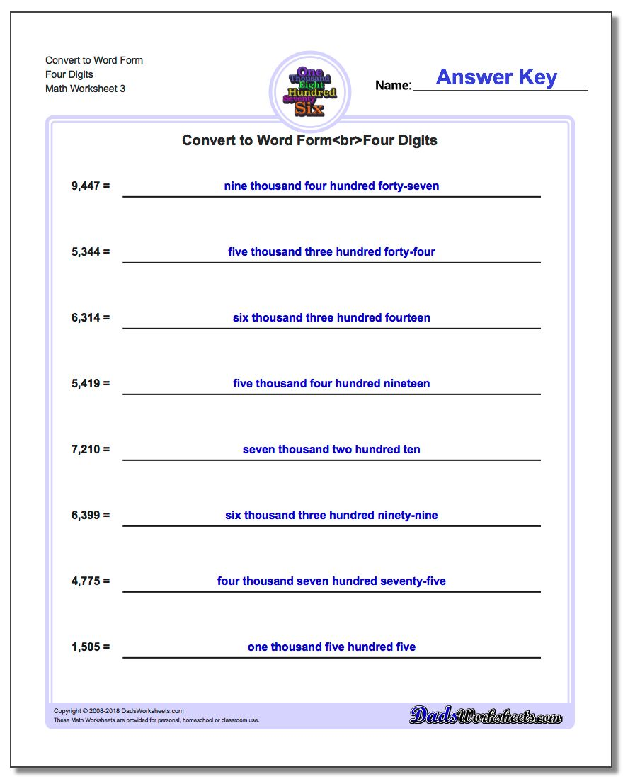 Convert to Word Form Worksheet Four Digits