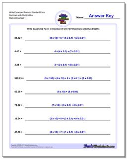 Standard, Expanded and Word Form Worksheet Write in Decimals with Hundredths