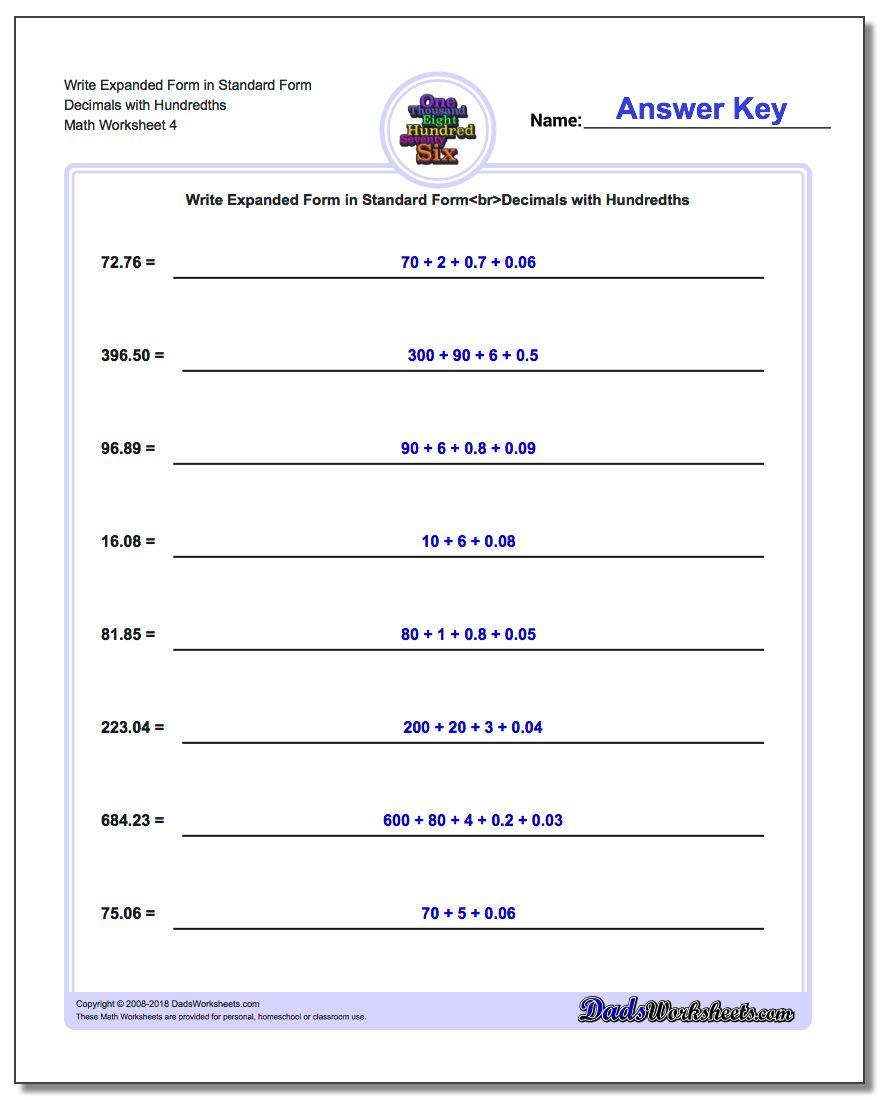Write Expanded Form Worksheet in Standard Form Decimals with Hundredths