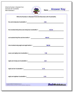 Standard, Expanded and Word Form Worksheet Write the Number in Decimals with Hundredths