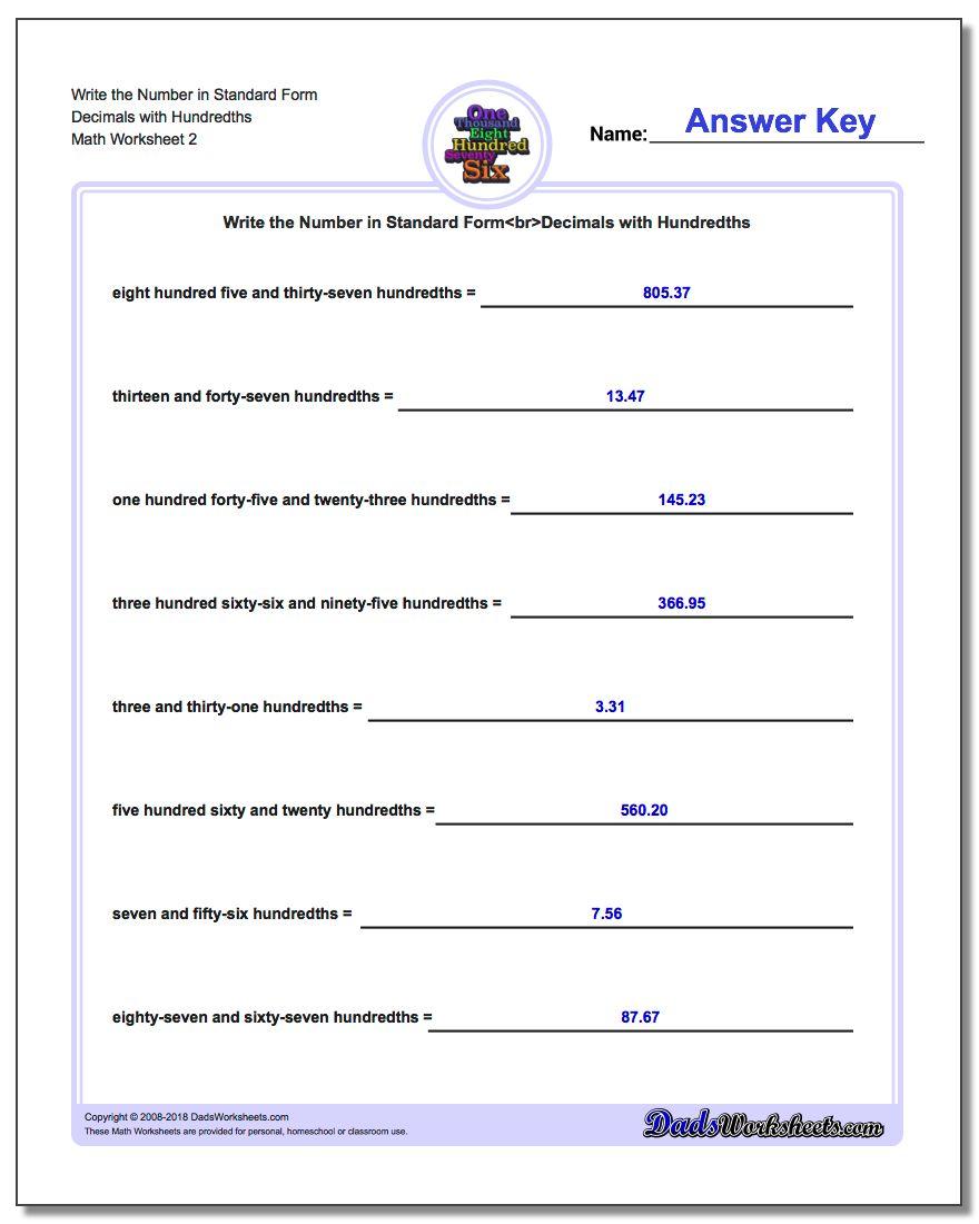 Write the Number in Standard Form Worksheet Decimals with Hundredths www.dadsworksheets.com/worksheets/standard-expanded-and-word-form.html
