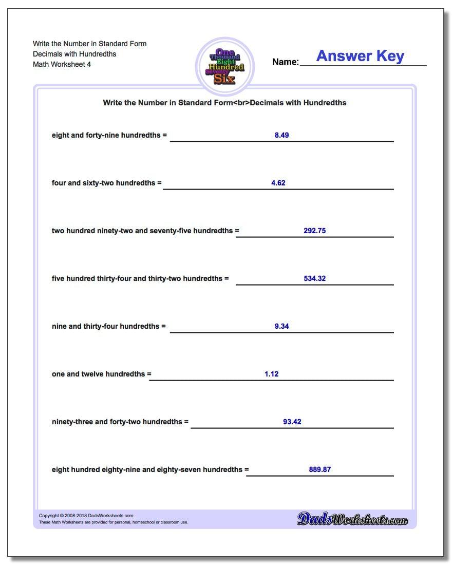 Write the Number in Standard Form Worksheet Decimals with Hundredths