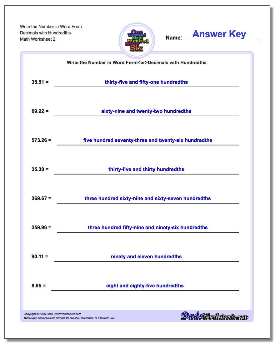 Write the Number in Word Form Worksheet Decimals with Hundredths www.dadsworksheets.com/worksheets/standard-expanded-and-word-form.html