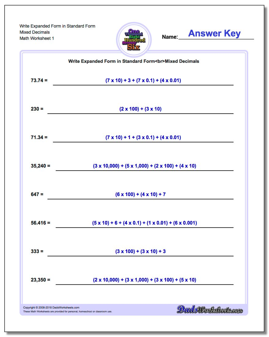 Write Numbers in Expanded Place Value Form – Place Value with Decimals Worksheet