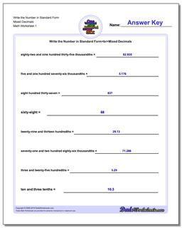 Standard, Expanded and Word Form Worksheet Write the Number in Mixed Decimals