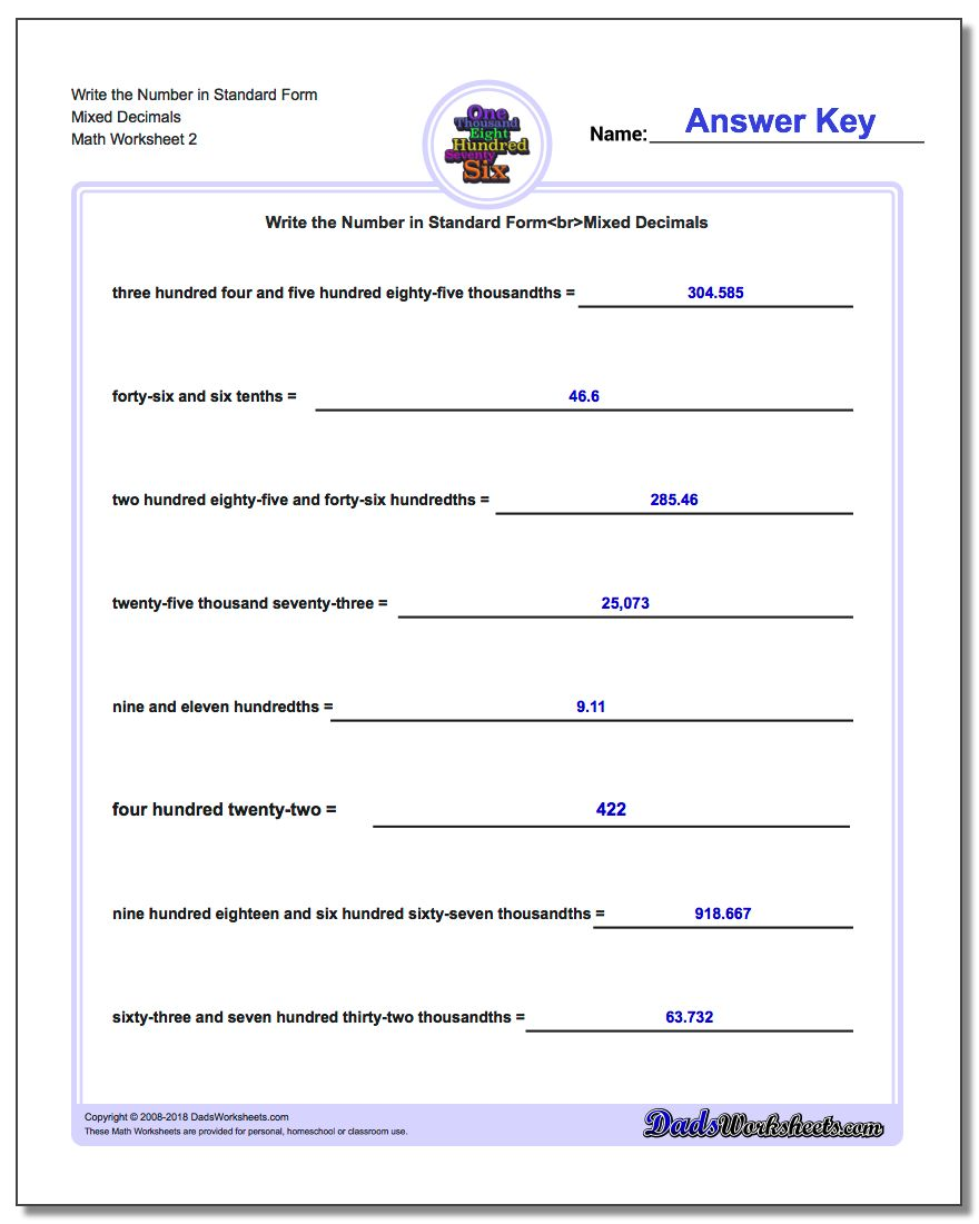 Write the Number in Standard Form Worksheet Mixed Decimals www.dadsworksheets.com/worksheets/standard-expanded-and-word-form.html