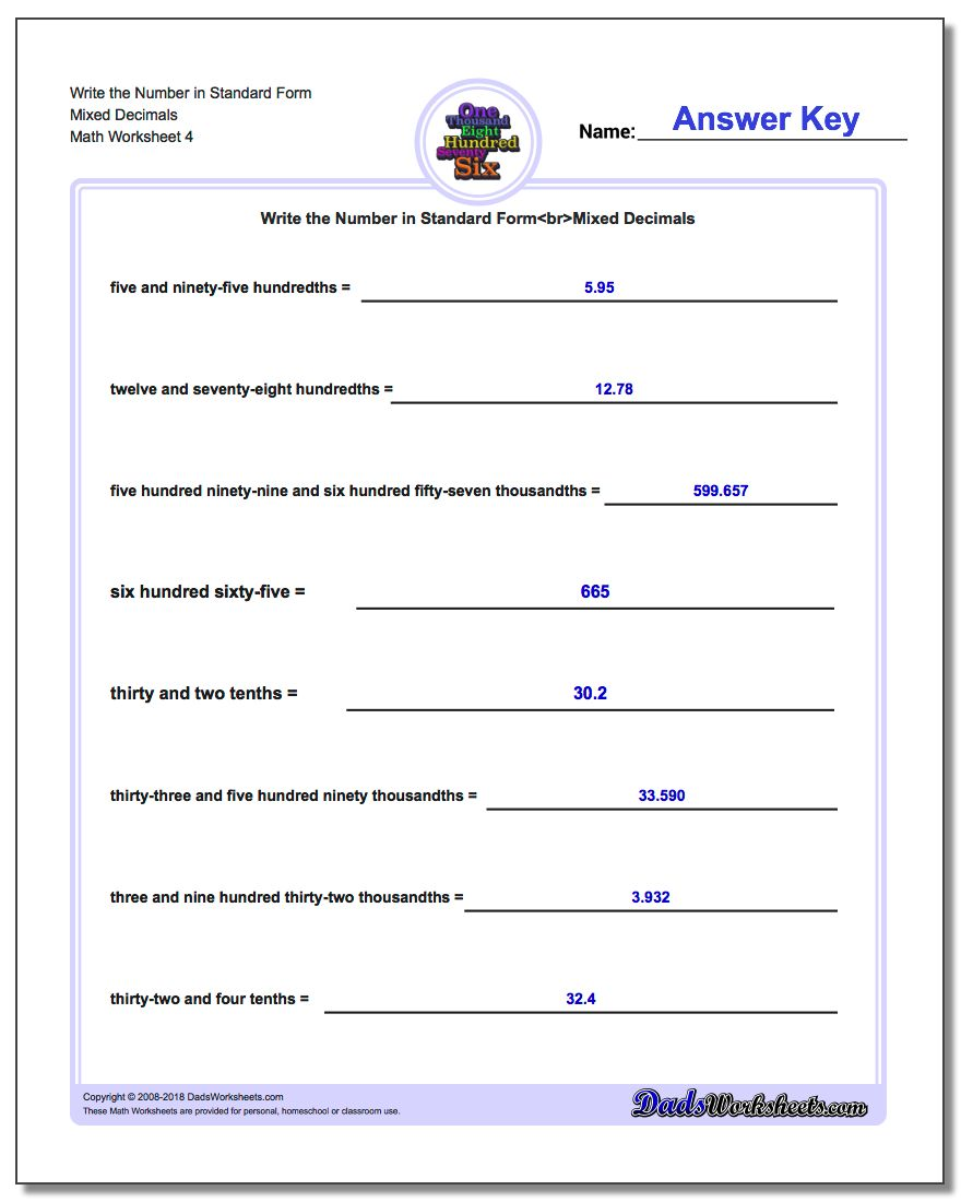 Write the Number in Standard Form Worksheet Mixed Decimals