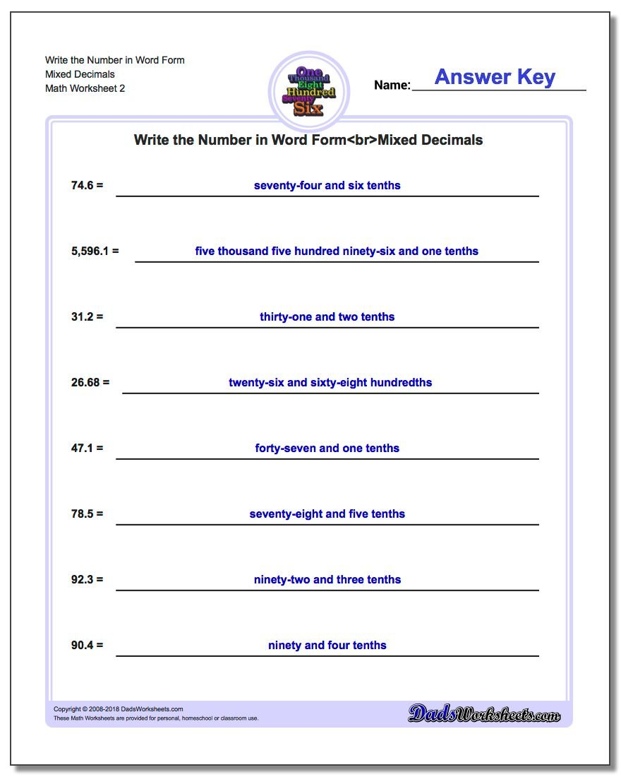Write the Number in Word Form Worksheet Mixed Decimals www.dadsworksheets.com/worksheets/standard-expanded-and-word-form.html