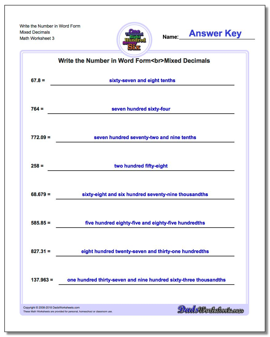 Write the Number in Word Form Worksheet Mixed Decimals