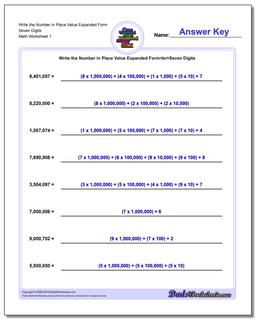 Standard, Expanded and Word Form Worksheet Write the Number in Place Value Seven Digits