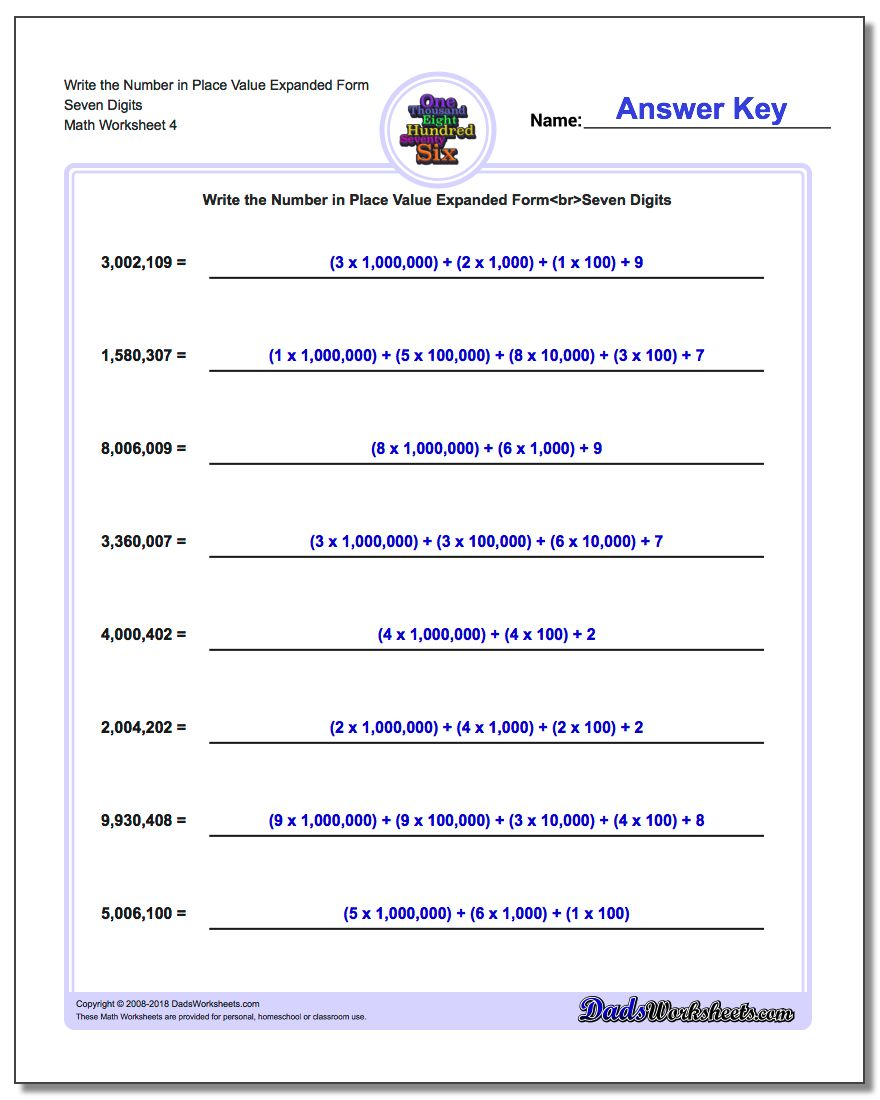 Write the Number in Place Value Expanded Form Worksheet Seven Digits
