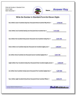 Standard, Expanded and Word Form Worksheet Write the Number in Seven Digits