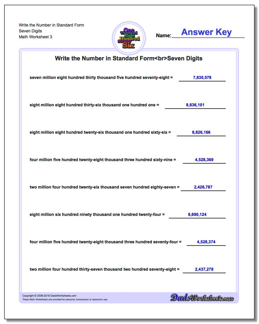 Write the Number in Standard Form Worksheet Seven Digits