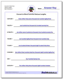 Standard, Expanded and Word Form Worksheet Convert to Various Lengths