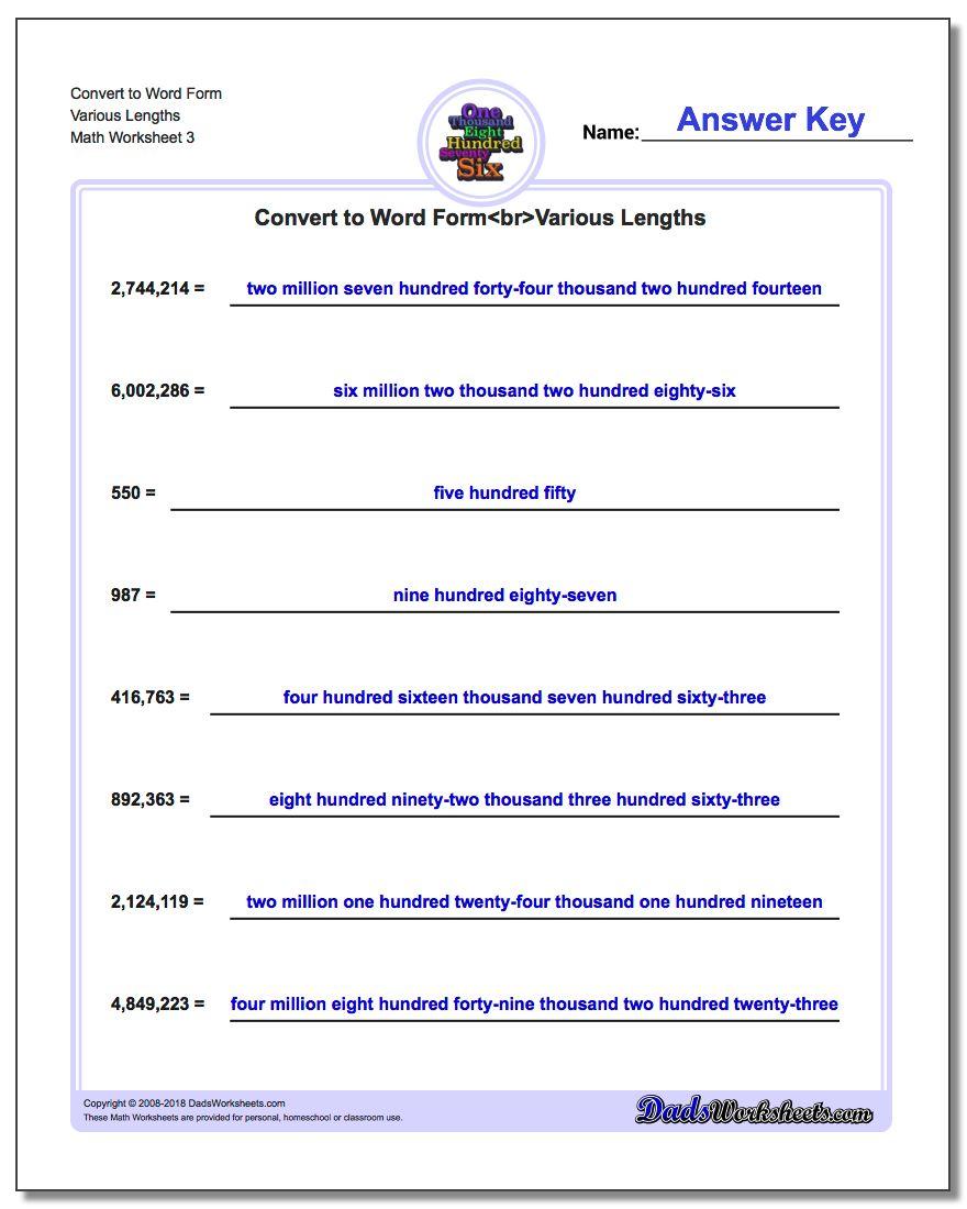 Convert to Word Form Worksheet Various Lengths