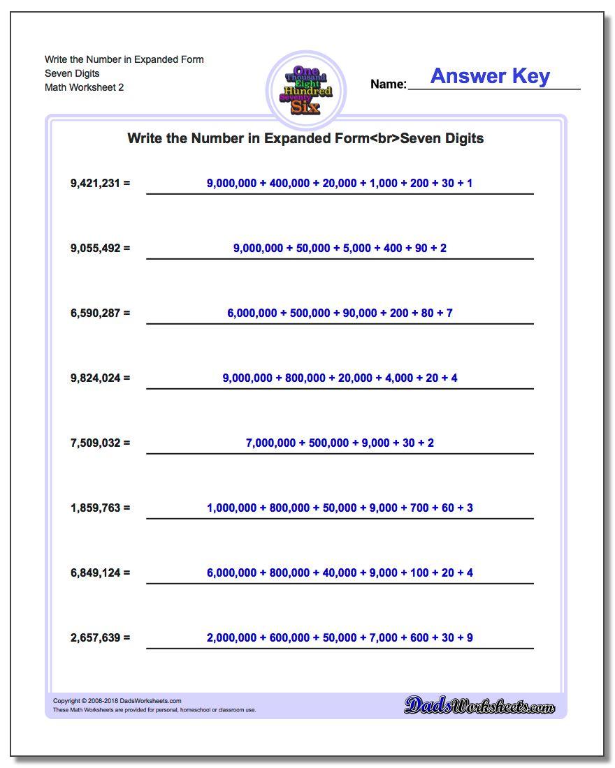 Write the Number in Expanded Form Worksheet Seven Digits www.dadsworksheets.com/worksheets/standard-expanded-and-word-form.html