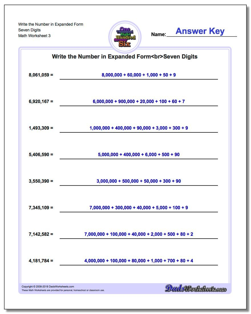 Write the Number in Expanded Form Worksheet Seven Digits