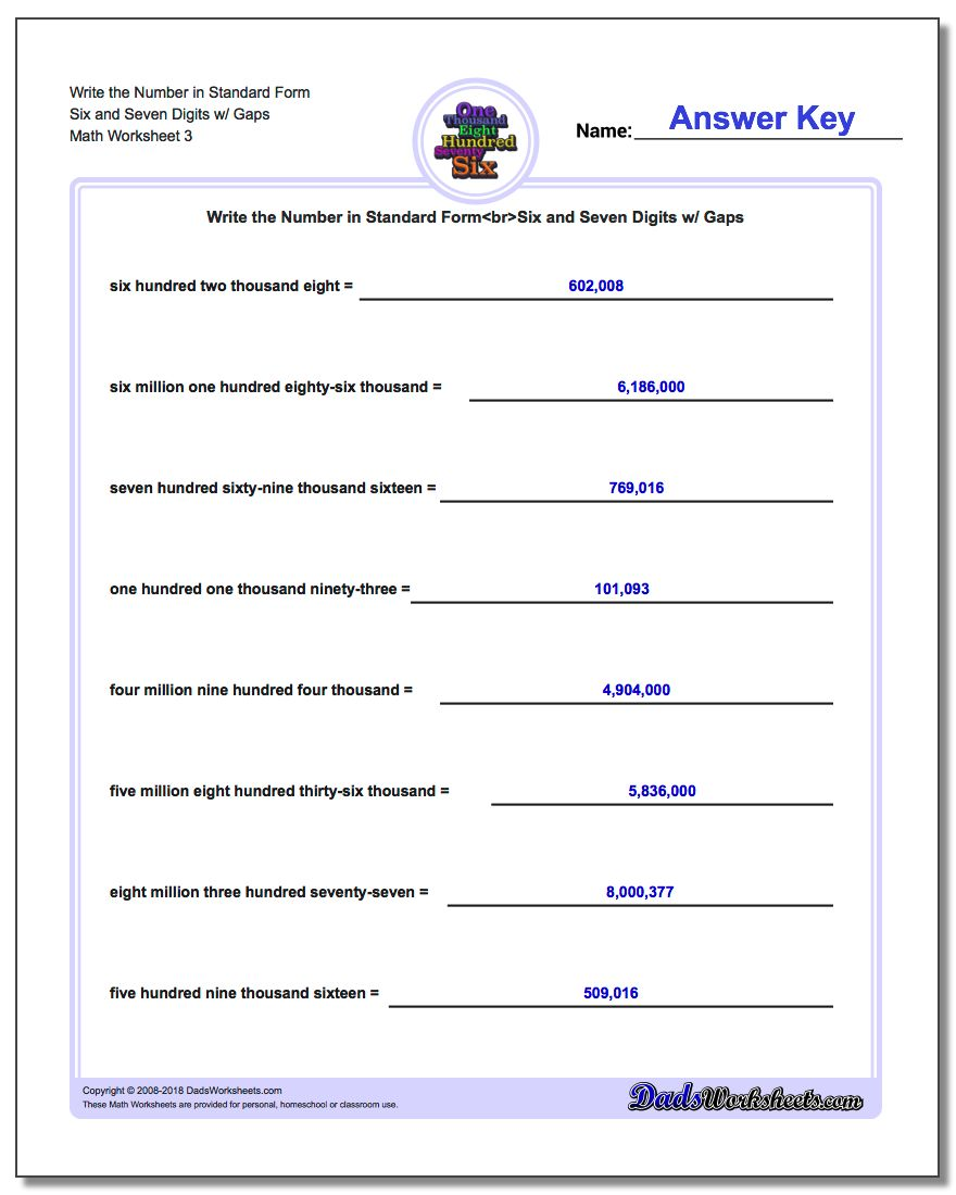 Write the Number in Standard Form Worksheet Six and Seven Digits w/ Gaps