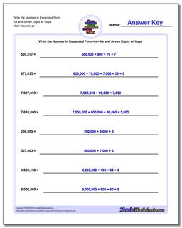 Standard, Expanded and Word Form Worksheet Write the Number in Six Seven Digits w/ Gaps