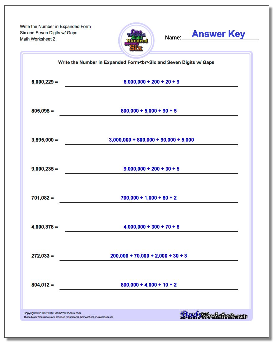 Write the Number in Expanded Form Worksheet Six and Seven Digits w/ Gaps www.dadsworksheets.com/worksheets/standard-expanded-and-word-form.html