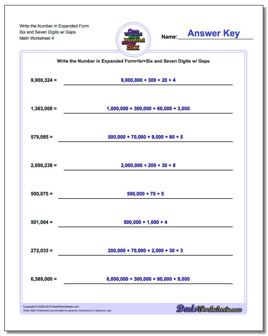 Write the Number in Expanded Form Worksheet Six and Seven Digits w/ Gaps